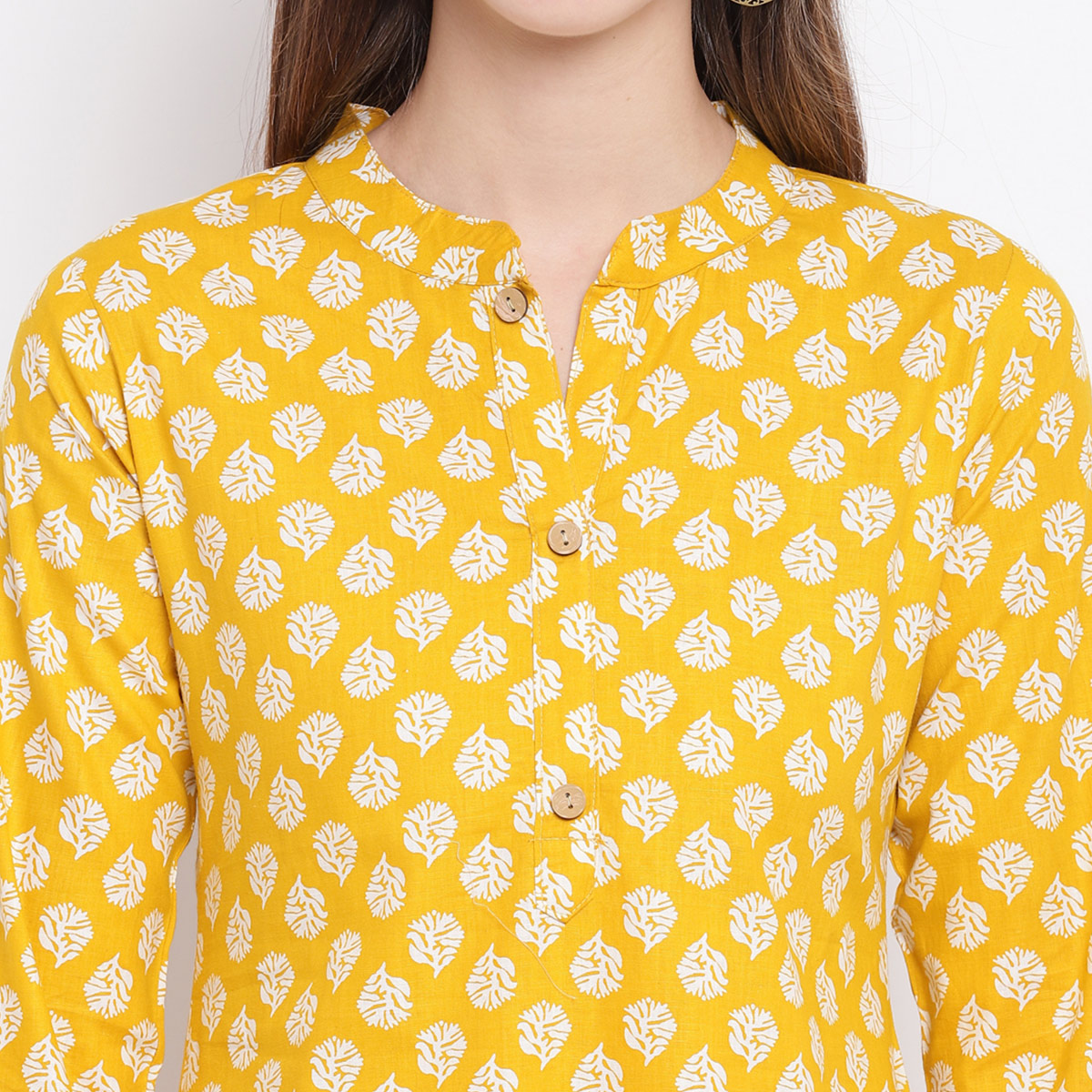 Trendy Yellow Colored Casual Printed Cotton Kurti