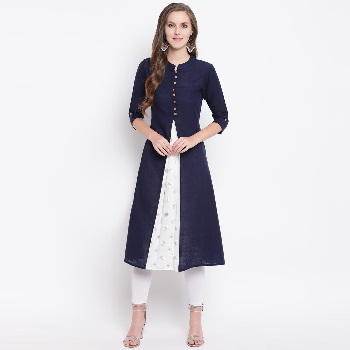 Elegant Navy Blue Colored Casual Printed Cotton Kurti