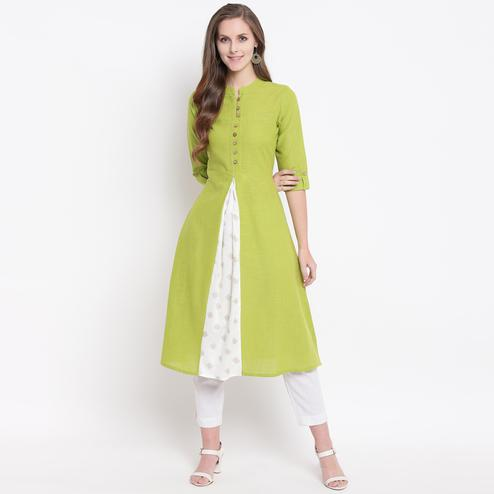 Radiant Green Colored Casual Printed Cotton Kurti