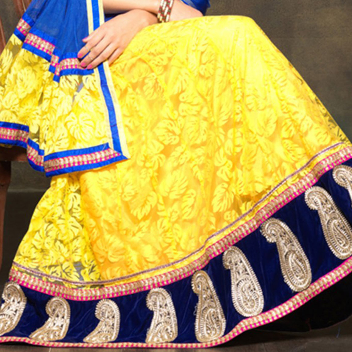 Yellow Net Lehenga with Red Velvet Choli