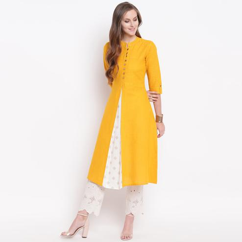Pleasant Mustard Colored Casual Printed Cotton Kurti