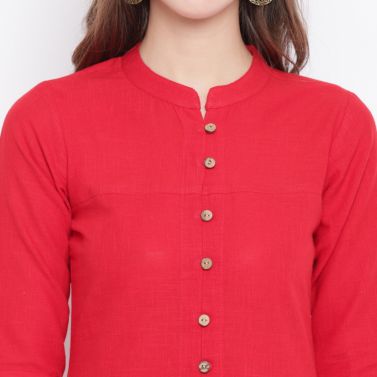 Opulent Red Colored Casual Printed Cotton Kurti