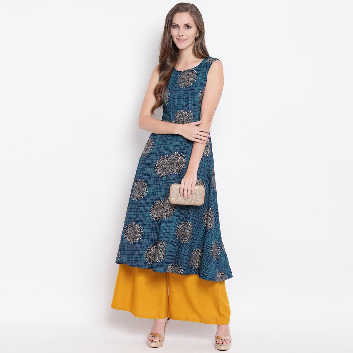 Energetic Blue Colored Casual Printed Rayon Kurti