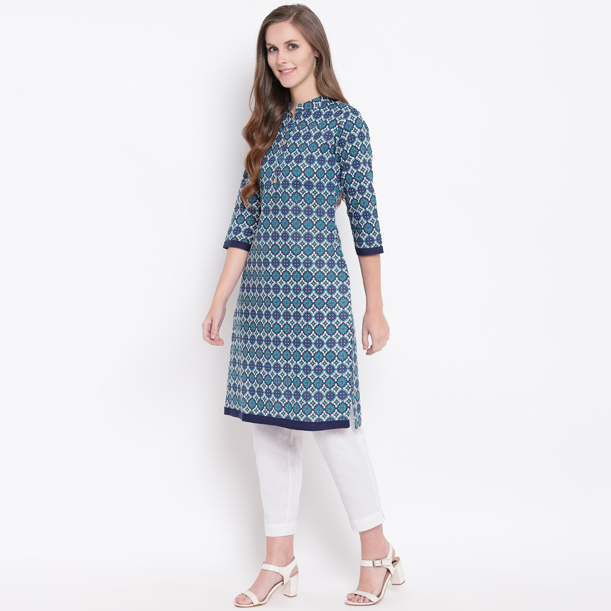 Hypnotic Blue Colored Casual Printed Cotton Kurti