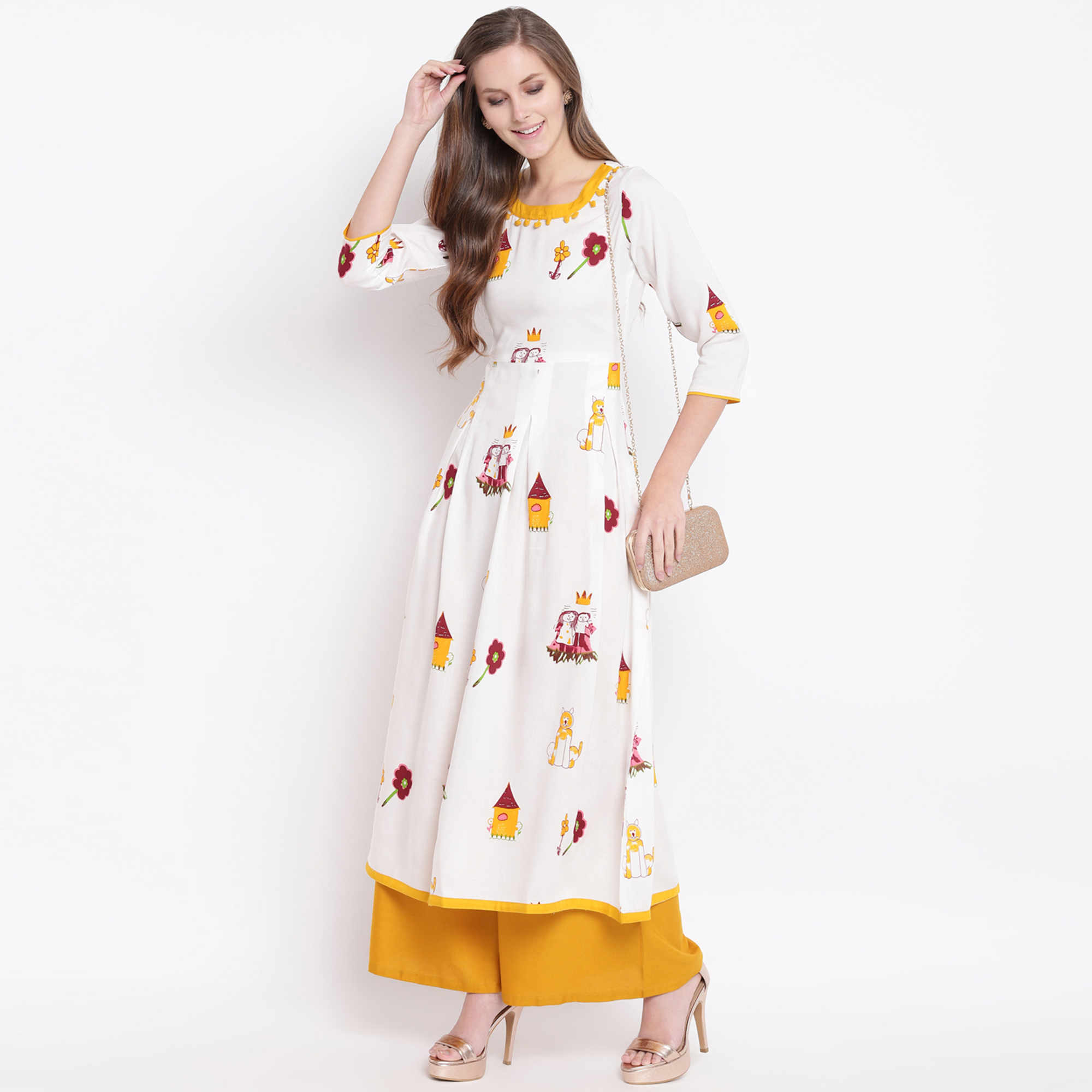 Gleaming White Colored Casual Printed Rayon Kurti