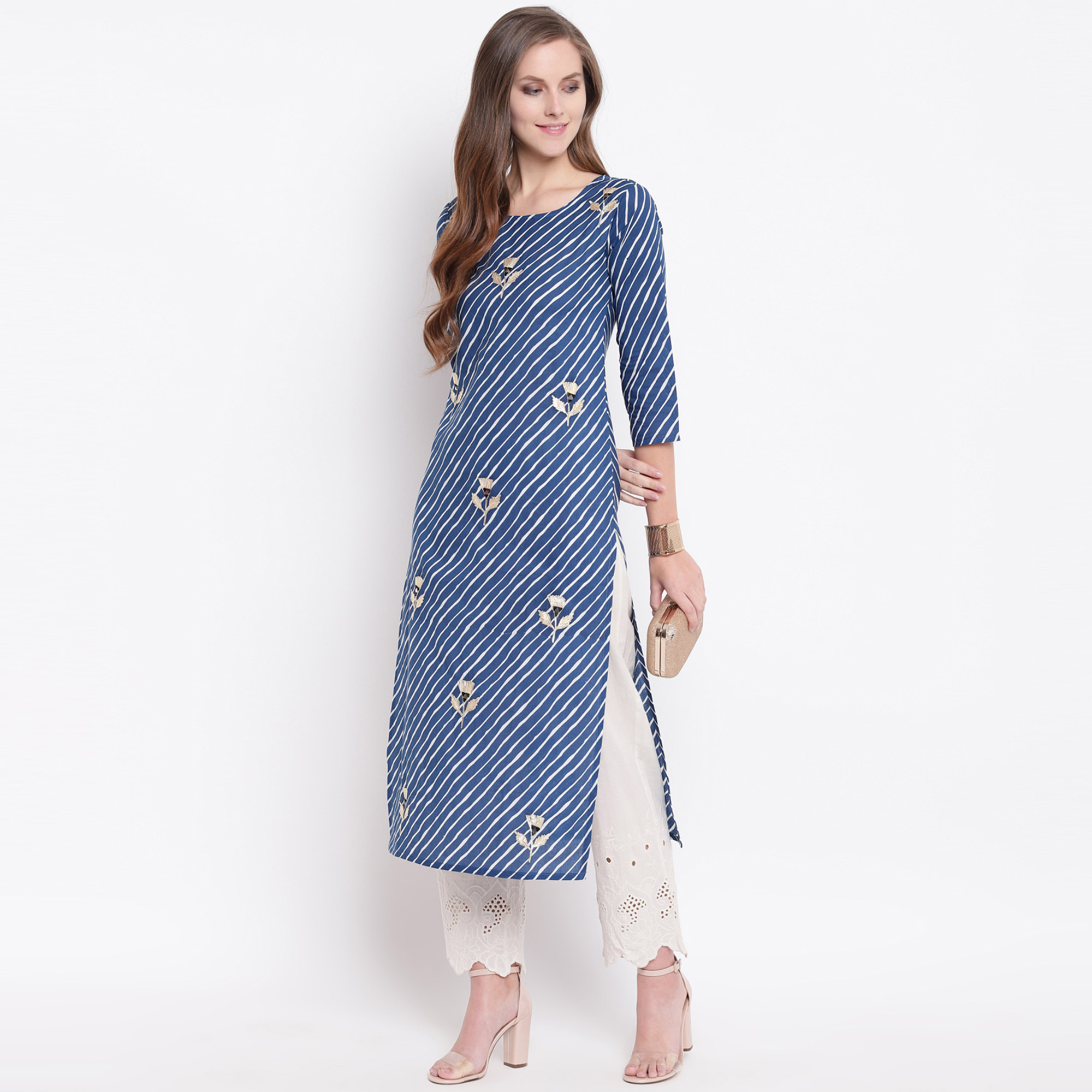 Mesmeric Blue Colored Casual Printed Cotton Kurti