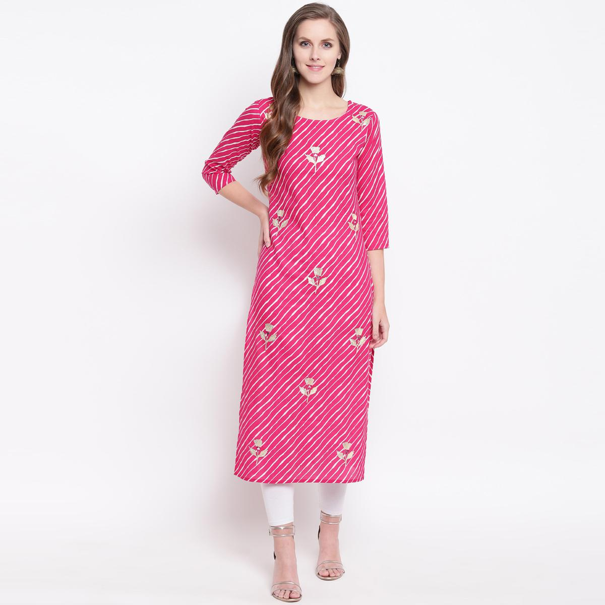 Unique Pink Colored Casual Printed Cotton Kurti