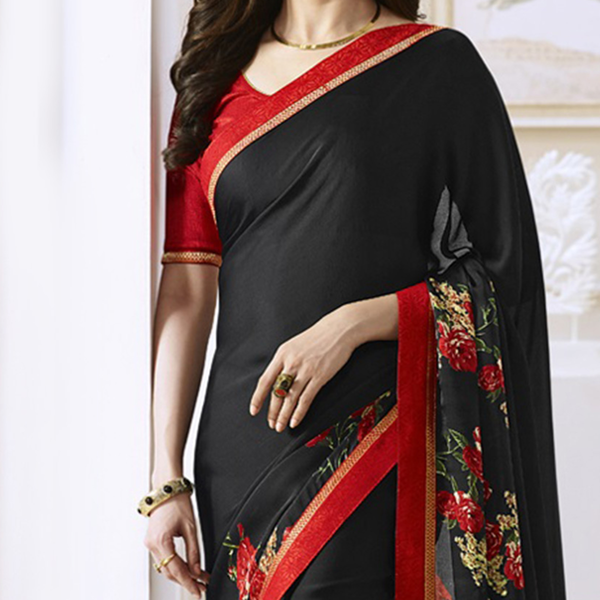 Black Saree with Red Lace Border