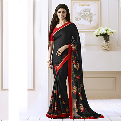2e02cb622b1dee Buy Black Saree with Red Lace Border for womens online India