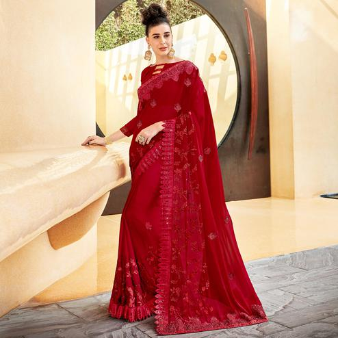 Blissful Red Colored Partywear Embroidered Georgette Saree