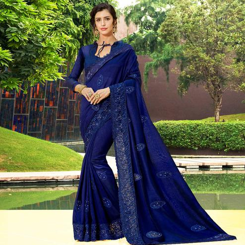 Ideal Navy Blue Colored Partywear Embroidered Georgette Saree