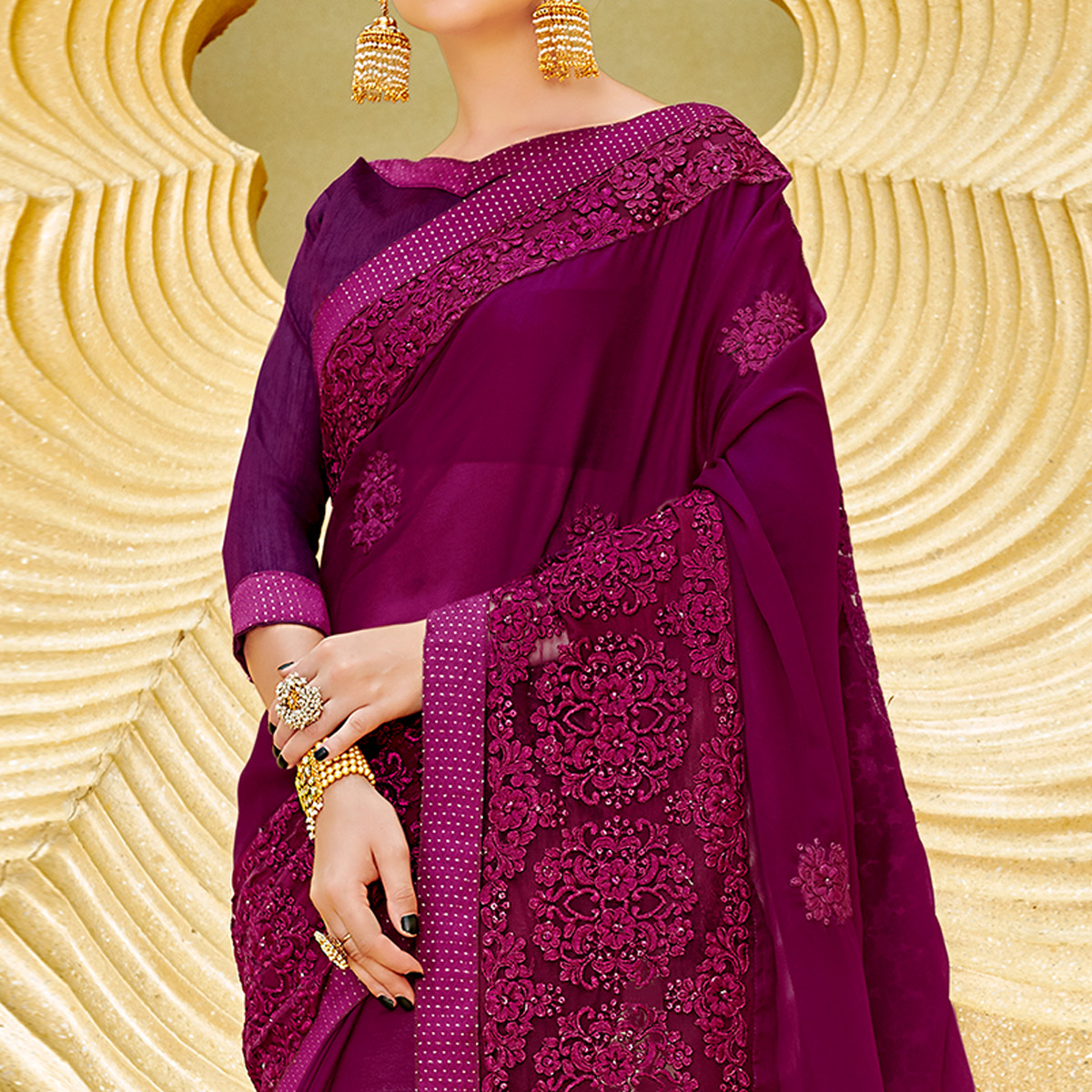 Imposing Purple Colored Partywear Embroidered Georgette Saree