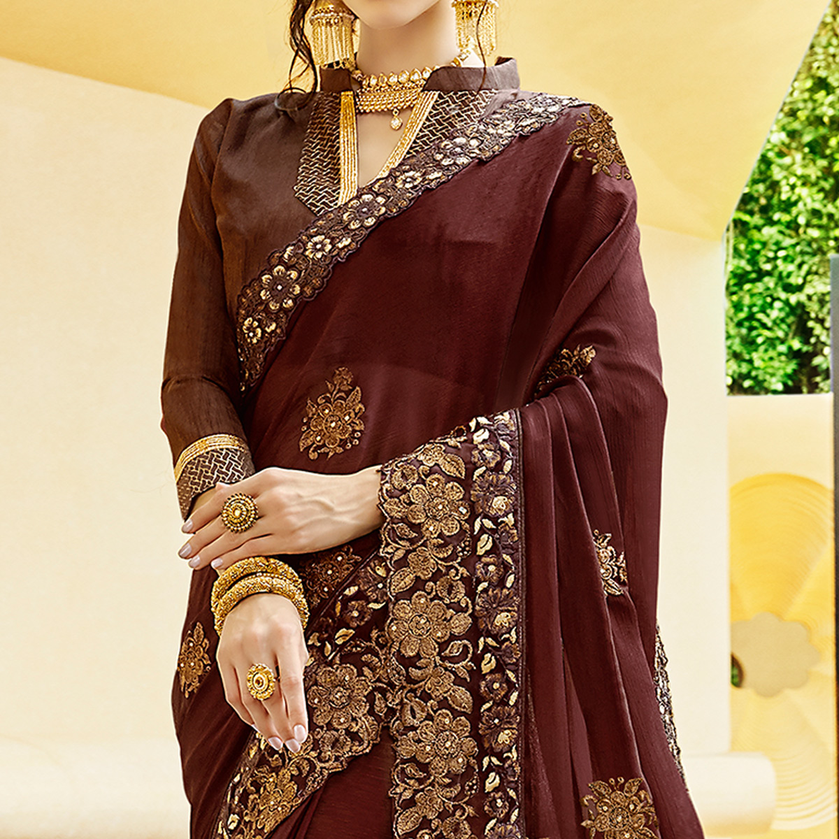 Lovely Dark Brown Colored Partywear Embroidered Georgette Saree