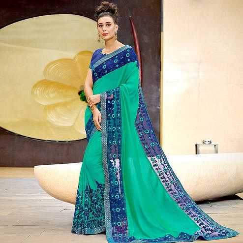 Majesty Turquoise Green Colored Partywear Embroidered Georgette Saree