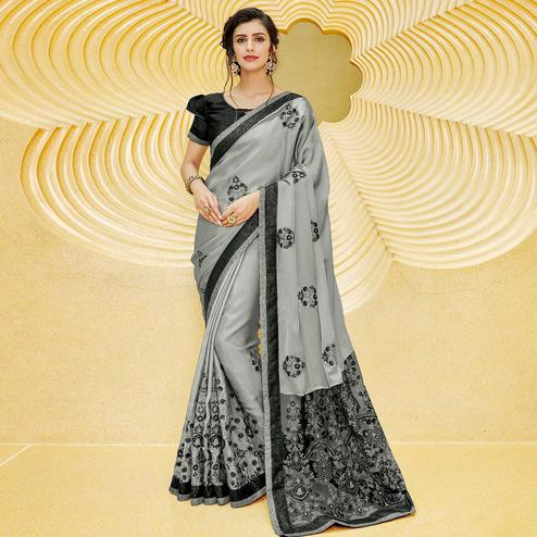 Mesmerising Gray Colored Partywear Embroidered Georgette Saree
