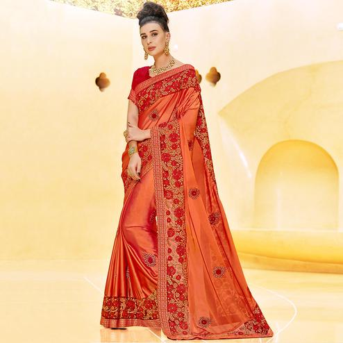 Pleasance Orange Colored Partywear Embroidered Georgette Saree