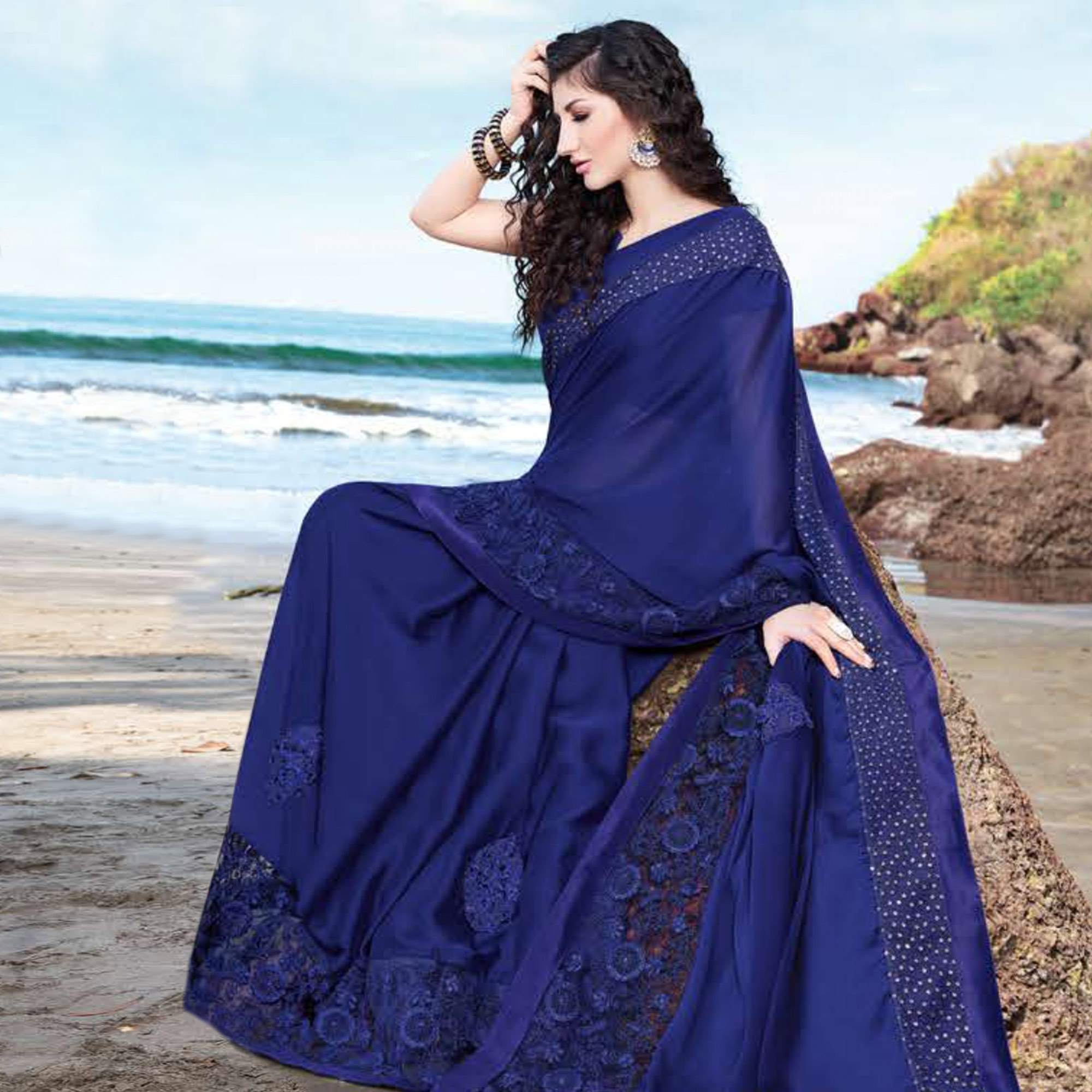 Charming Navy Blue Colored Partywear Embroidered Georgette Saree