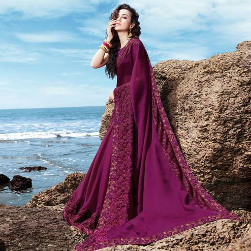 Jazzy Dark Purple Colored Partywear Embroidered Georgette Saree