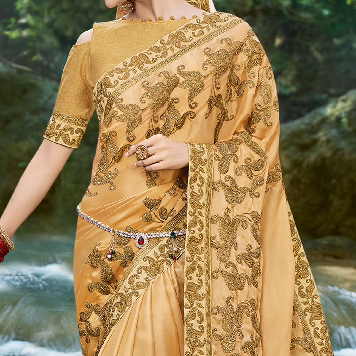 Captivating Beige Colored Partywear Embroidered Georgette Saree