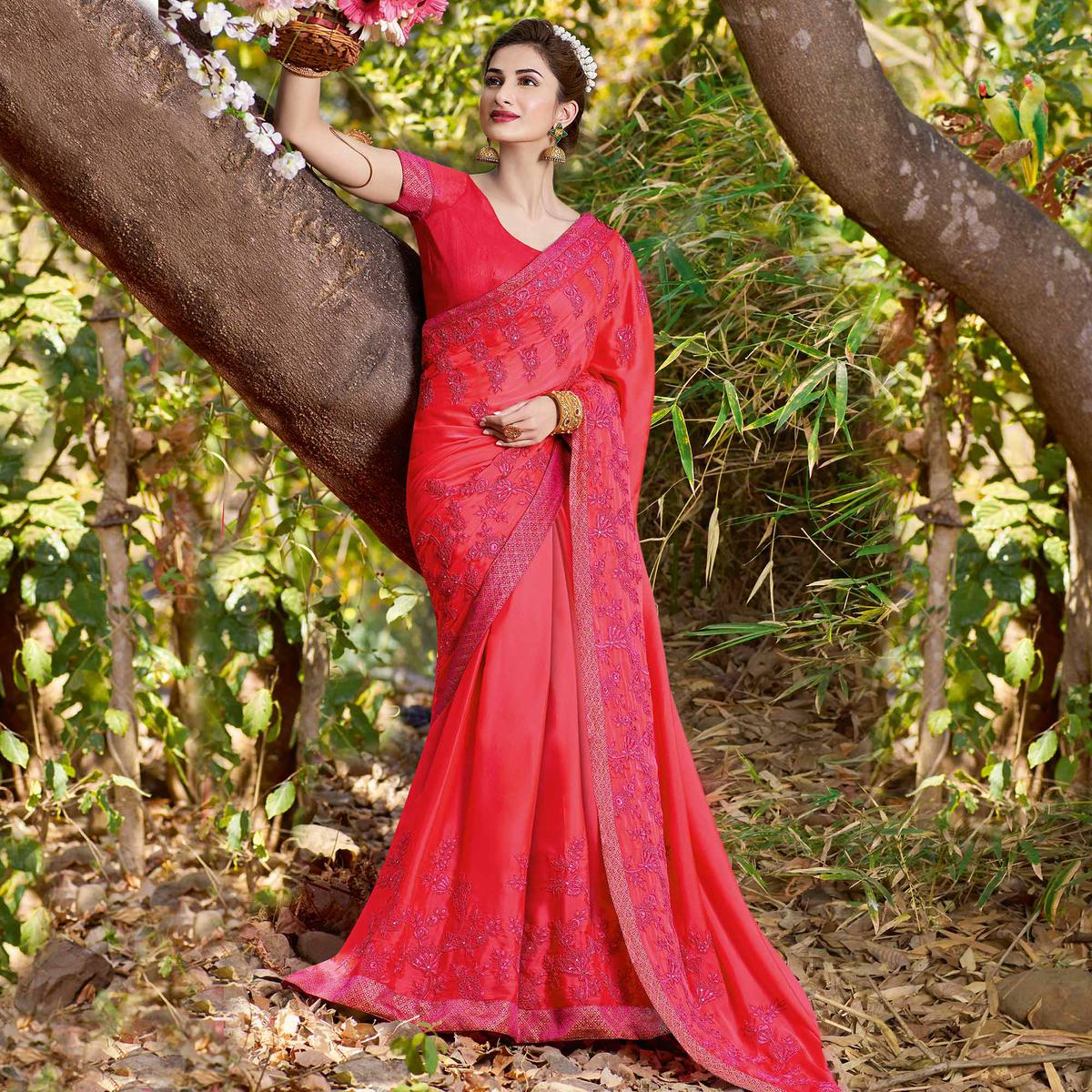 Eye-catching Red Colored Partywear Embroidered Georgette Saree