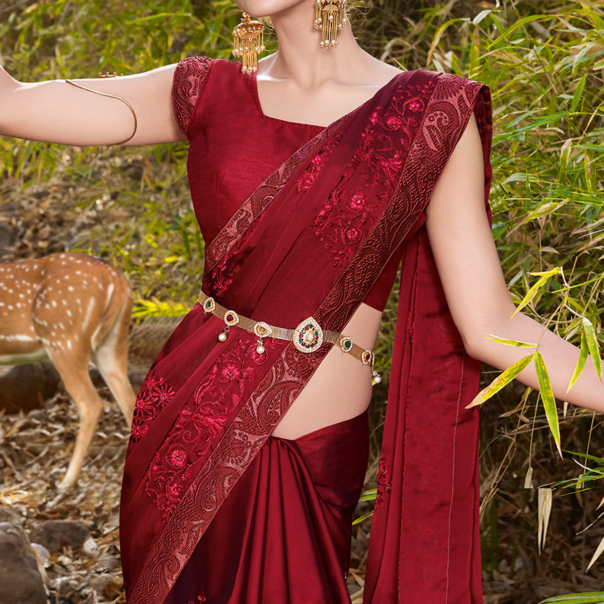 Fantastic Maroon Colored Partywear Embroidered Georgette Saree