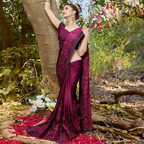 Gorgeous Purple Colored Partywear Embroidered Georgette Saree