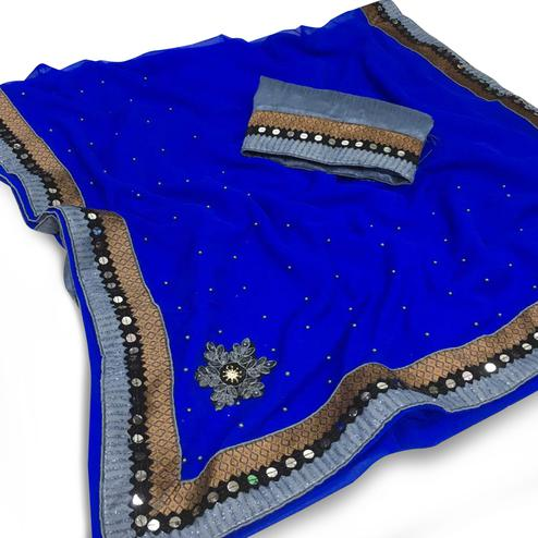 Flattering Blue Colored Partywear Chiffon Saree