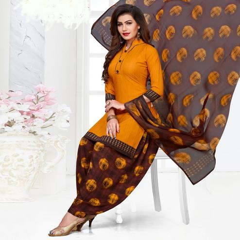 Appealing Orange Casual Printed Crepe Patiala Suit