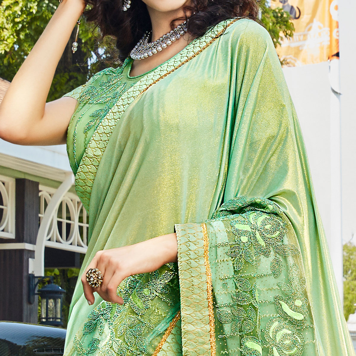 Lovely Pista Green Colored Partywear Embroidered Rangoli Silk Saree
