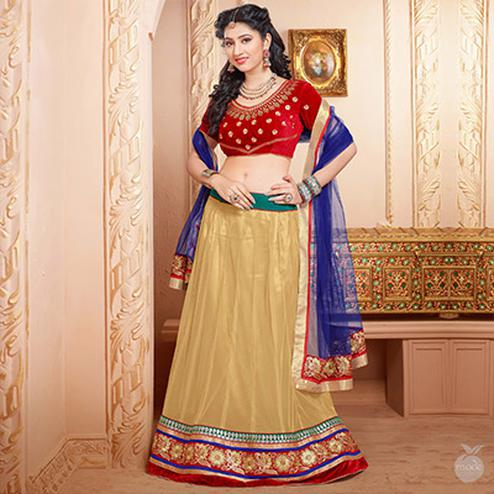Tan Red Lehenga
