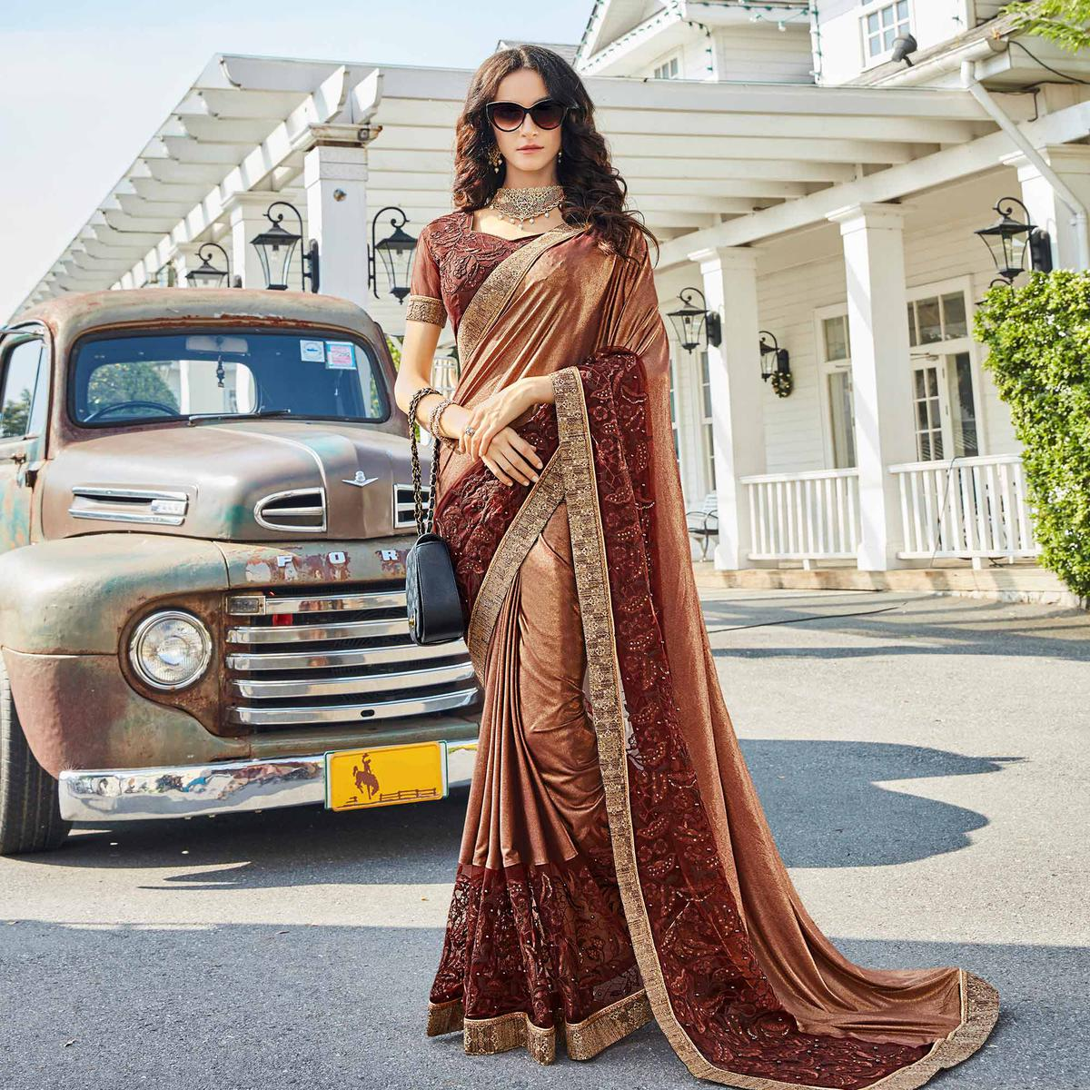 Marvellous Brown Colored Partywear Embroidered Rangoli Silk Saree