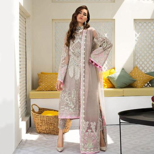 Captivating Gray Colored Partywear Embroidered Organza Pant Style Suit