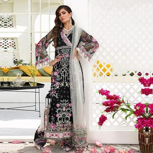 Appealing Black Colored Partywear Embroidered Netted Palazzo Suit