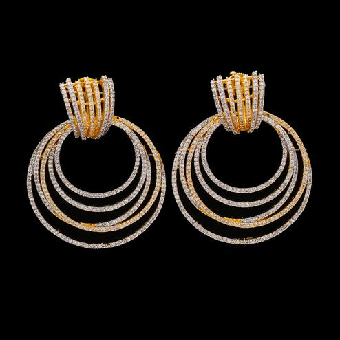 Graceful Gold American Diamond Earrings