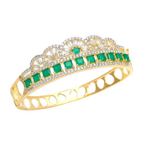Surpassing Green Stone American Diamond Bracelet