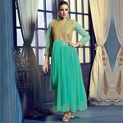 Turquoise Gown Anarkali
