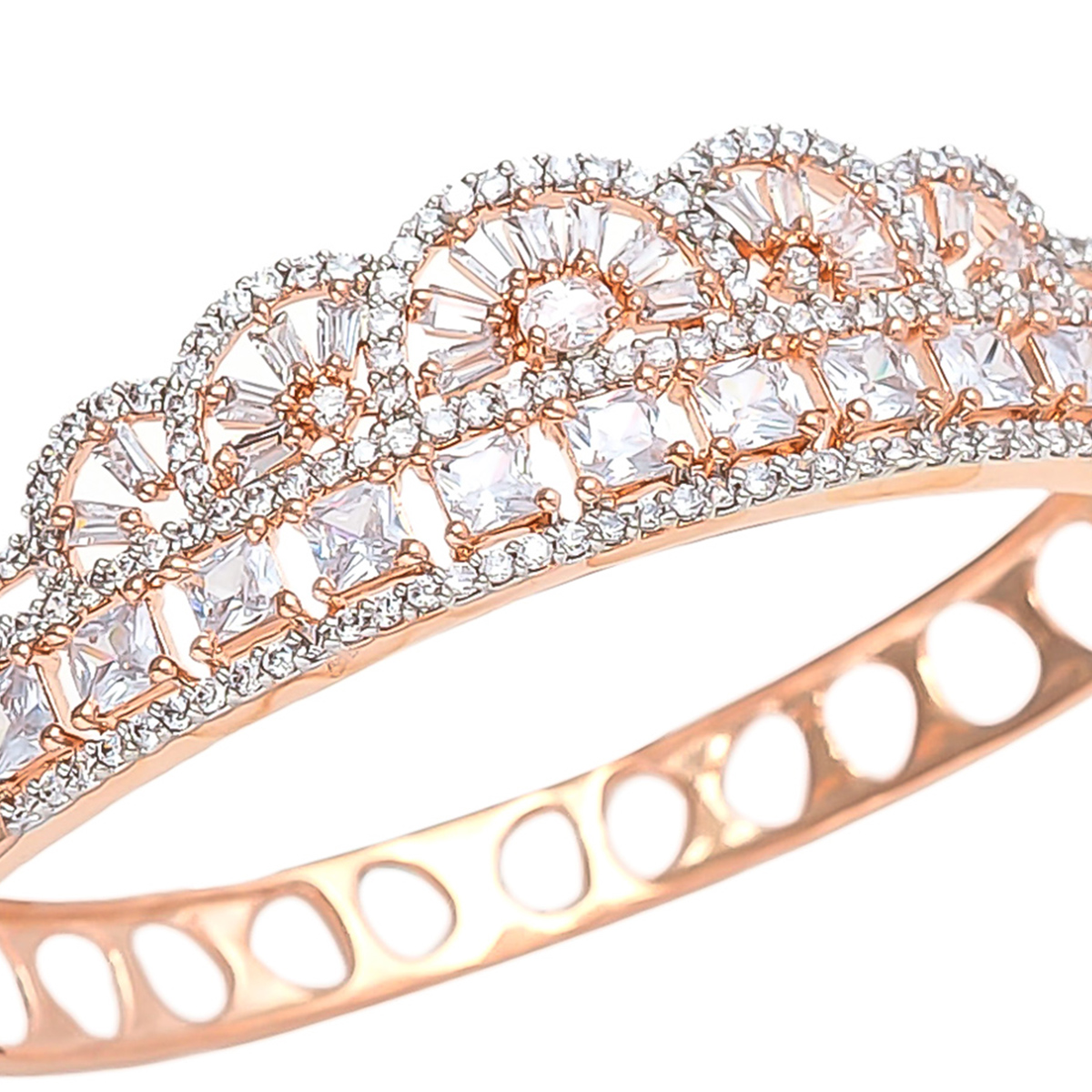 Sophisticated Rose Gold Polish American Diamond Bracelet