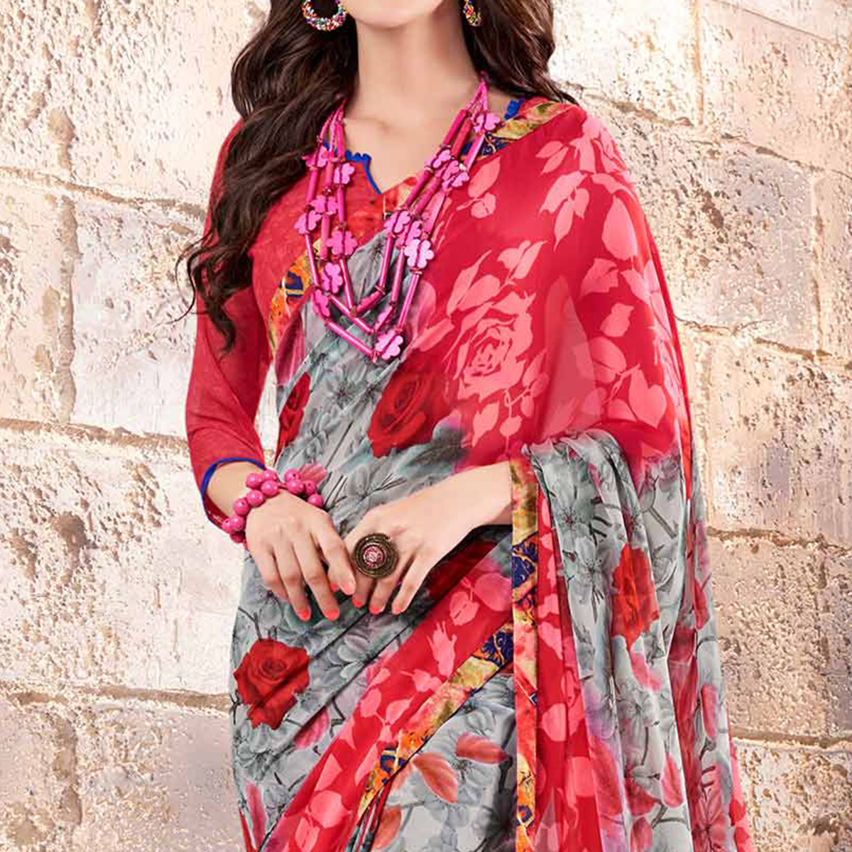 Red - Grey Floral Printed Georgette Saree