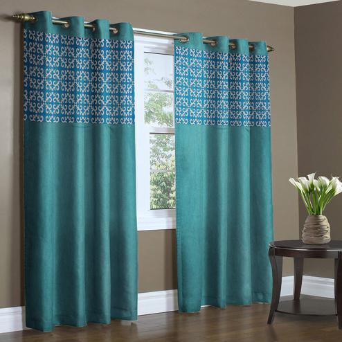 Glorious Aqua Blue Colored Printed Curtain - Pack Of 2