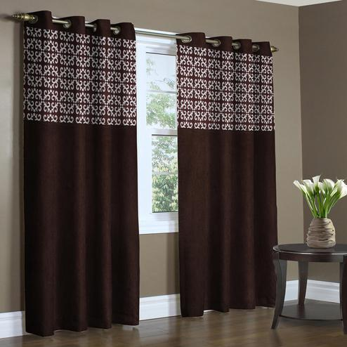 Beautiful Coffee Brown Colored Printed Curtain - Pack Of 2