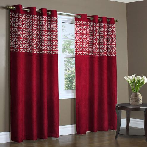 Trendy Maroon Colored Printed Curtain - Pack Of 2