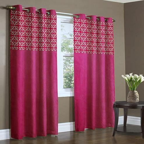 Charming Pink Colored Printed Curtain - Pack Of 2