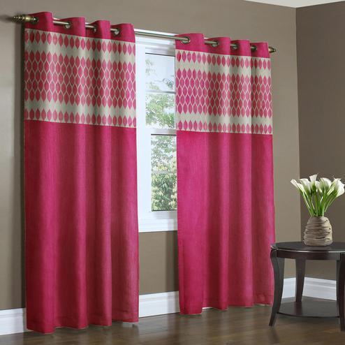 Delightful Pink Colored Printed Curtain - Pack Of 2