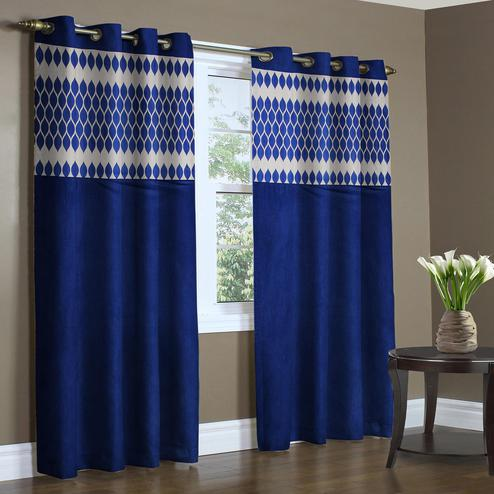 Engrossing Royal Blue Colored Printed Curtain - Pack Of 2