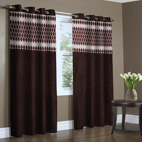 Desirable Coffee Brown Colored Printed Curtain - Pack Of 2