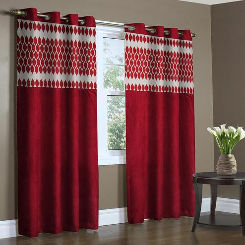 Exotic Maroon Colored Printed Curtain - Pack Of 2