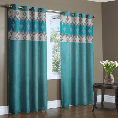 Sophisticated Aqua Blue Colored Printed Curtain - Pack Of 2