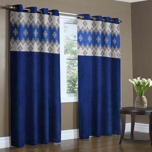 Entrancing Blue Colored Printed Curtain - Pack Of 2