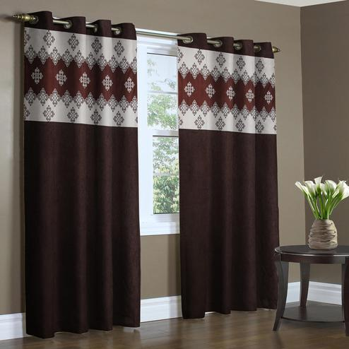 Groovy Brown Colored Printed Curtain - Pack Of 2