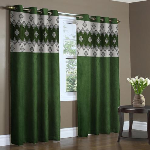 Prominent Green Colored Printed Curtain - Pack Of 2